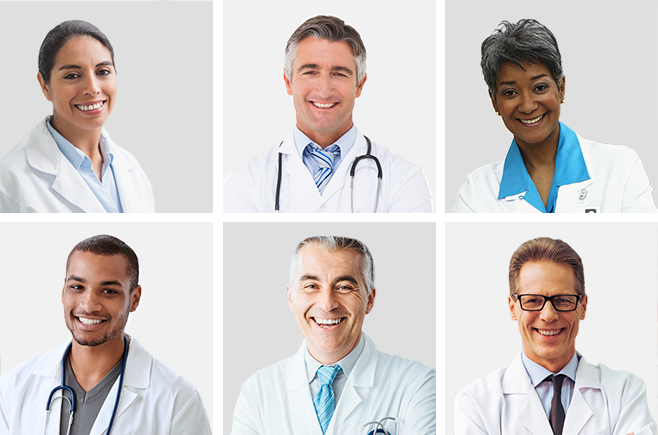 Diverse group of doctors representing Opternative's ophthalmologists.